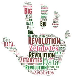 Picture of a hand covered with lots of words like Data, Revolution, Zetabytes, etc.